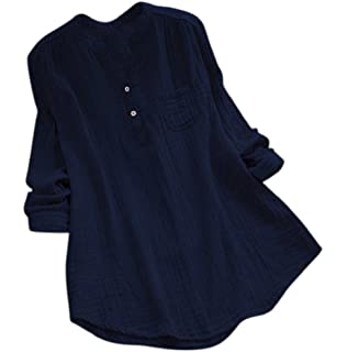 00f705aa3 Women's Blouse TUDUZ Women Stand Collar Long Sleeve Solid Casual Shirt Plus  Size Loose Office Work