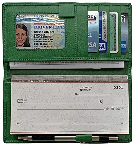 Emerald Green RFID Leather Checkbook Cover with Credit Card Slots and Pen Holder