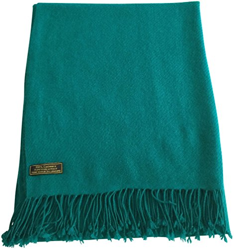 Teal Green High Grade 100% Cashmere Shawl Scarf Wrap Hand Made in Nepal NEW by CJ Apparel
