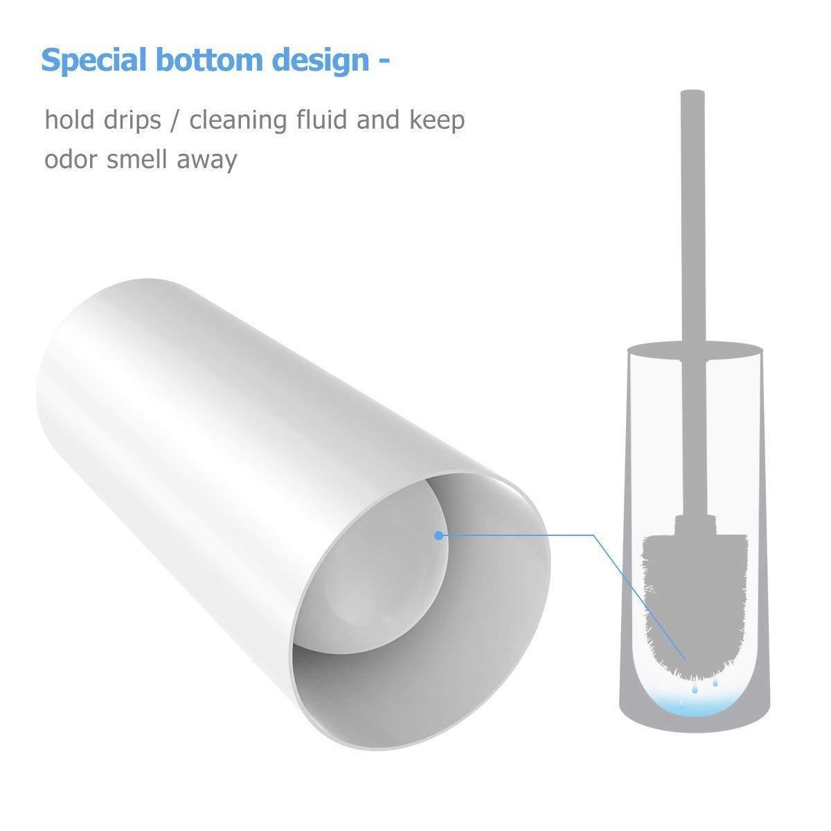 Homemaxs Toilet Brush and Holder Modern Design Longer Brush and Heavy Enough for Bathroom Toilet
