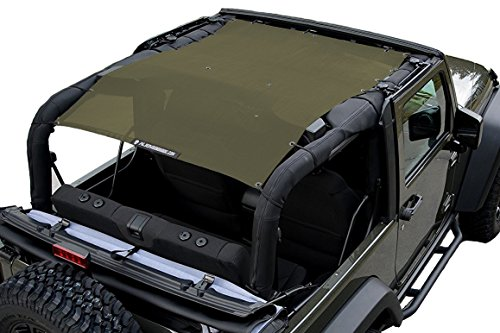 ALIEN SUNSHADE 2-Door Jeep Wrangler Mesh Shade Top Cover with 10 Year Warranty Provides UV Protection for Your JK (2007-2017) ()