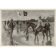 1902 Print Remington Art Army Soldiers Officer Flag Telegraph Line American West - Original Print
