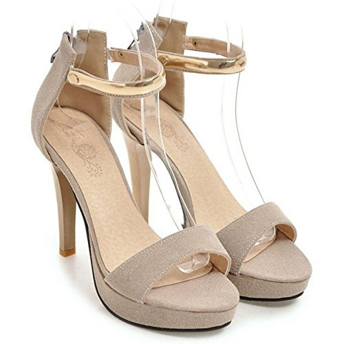 COOLCEPT Mujer Moda Correa de Tobillo Sandalias Tacon de Aguja Peep Toe Plataforma Zapatos con Cremallera Beige