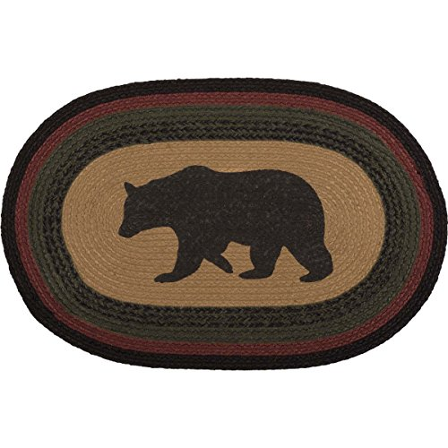 Adirondack Rustic Lodge - VHC Brands 38074 Rustic & Lodge Flooring-Wyatt Tan Bear Oval Jute Rug, 20 x 30