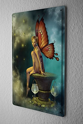 Butterfly Wings Postcard - Tin Sign Metal Poster Gothic Fairy Butterfly Wings lamps Dream World Vintage Decoration 8X12