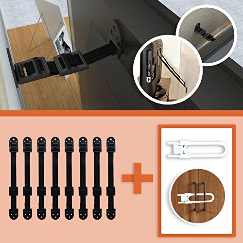 niture Straps Baby Proofing System - 8 Pack - Withholds up to 1500 lbs to provide more safety & 1 Sliding Door Lock | Childproofing Wall Anchor for TVs, Drawers & Bookshelves (Anchor 300 Pounds)