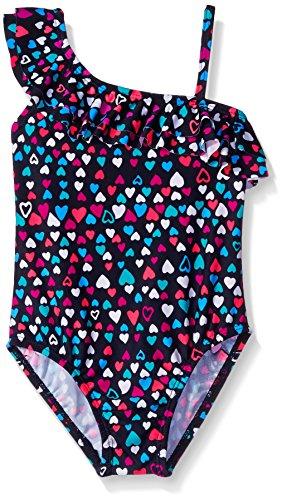 Osh Kosh Little Girls Heart Print One Piece Swimsuit, Navy, 5