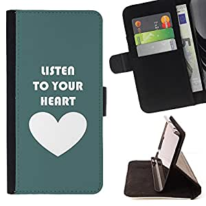 DEVIL CASE - FOR LG OPTIMUS L90 - Listen To Your Heart Teal Love White - Style PU Leather Case Wallet Flip Stand Flap Closure Cover
