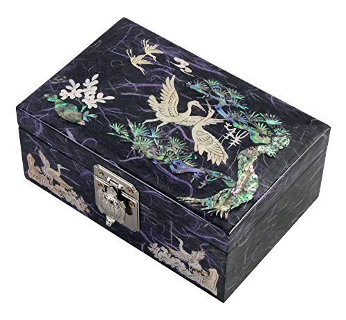 Unique Red Lacquer Jewellery Box - Mother of Pearl Birds and Pine Tree Design Lacquered Wooden Red Mirrored Jewelry Trinket Keepsake Treasure Gift Box Case Chest Organizer