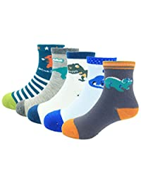 CHUNG Boys Cotton Crew Socks 5 Pack Stripe Snail Dinosaur Animal 2-8Y