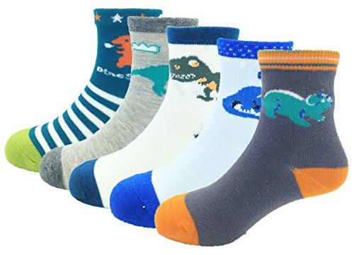Dinosaur Socks (CHUNG Boys Cotton Crew Socks 5 Pack Stripe Snail Dinosaur Animal 2-8Y, Dinosaur, 6-8Y)