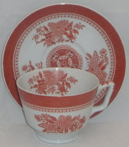 Spode Fitzhugh-Red London Shape Footed Cup & Saucer Set (Imperfect)