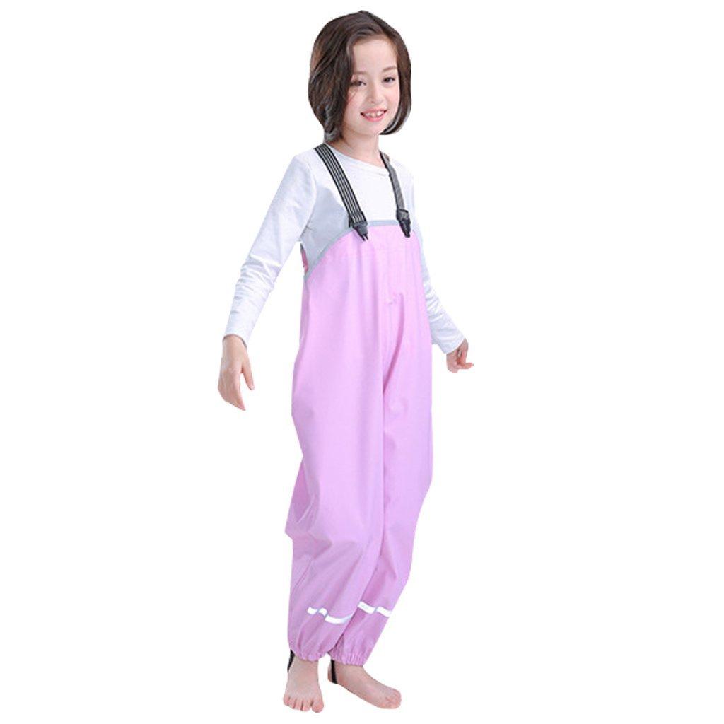 IvyH Kids Rainproof Trousers-Waterproof Rainwear with Adjustable Strap and Shoe Loop Zhongding
