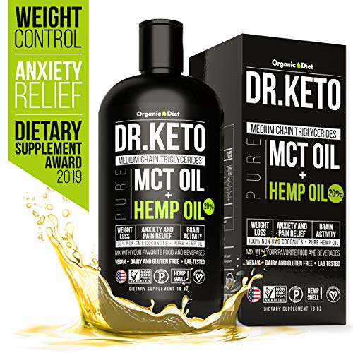 Keto MCT Oil With Hemp Extract. Triple Filtered and Cold Pressed C8 and C10 MCT Coconut Oil. Paleo and Vegan Friendly. Diet Stress Relief by Organic Hemp Oil. Made in USA