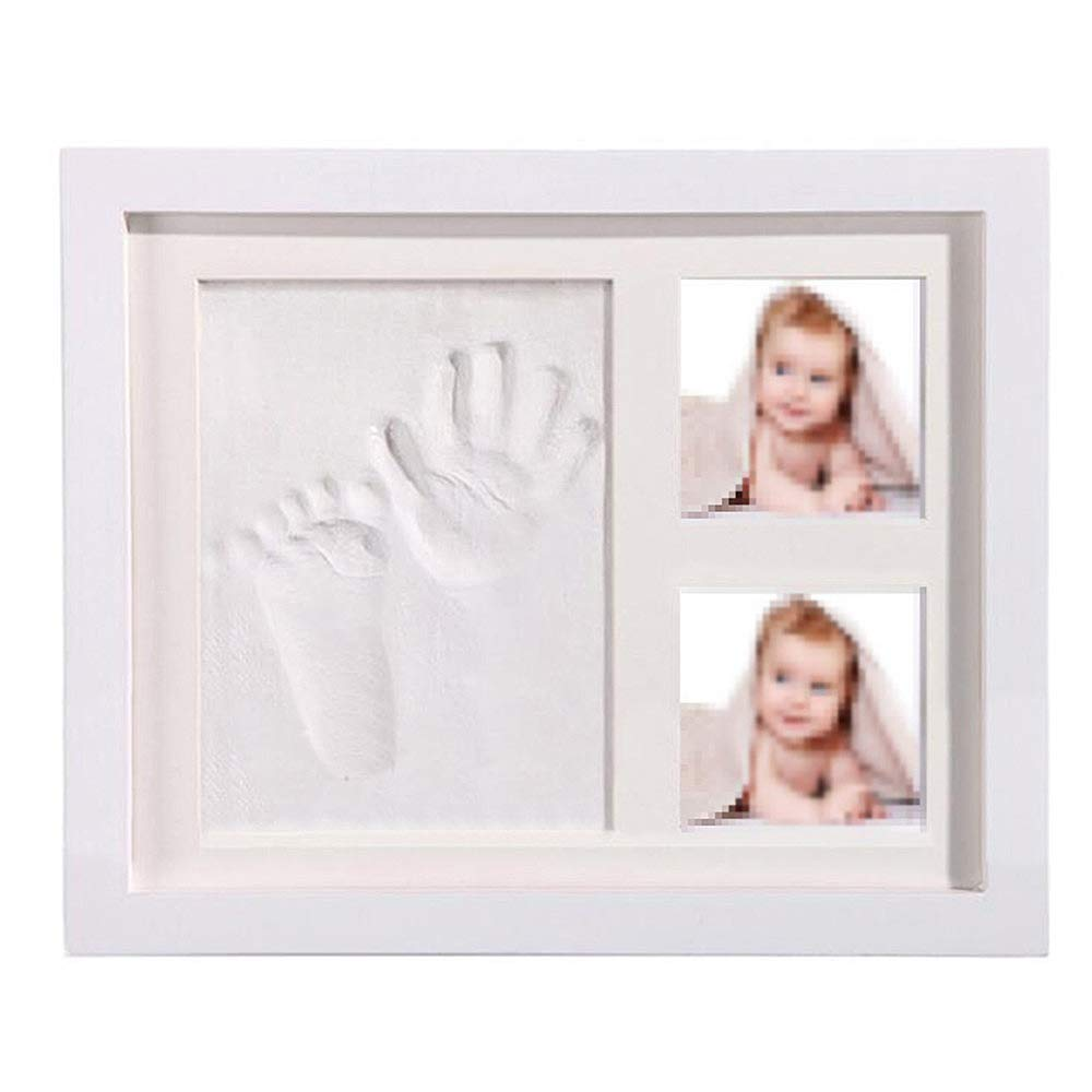 zorvo Newborn Baby Handprint Kit & Footprint Picture Frame Kit Keepsake Box for Boys and Girls Personalized Table and Wall Photo Decoration