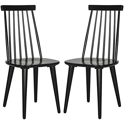 Safavieh American Homes Collection Burris Country Farmhouse Black Spindle Side Chair (Set of 2) Windsor Dining Room Set