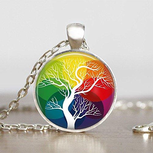 (White Trunk Pendant Tree of Life Necklace Round Handmade Jewelry)