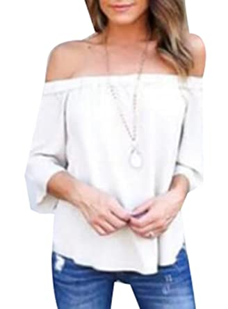 2104455fbdaf46 Jaycargogo Women s Sexy Off Shoulder Sheer Chiffon Blouse Tops at Amazon  Women s Clothing store
