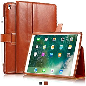"""KAVAJ iPad Pro 10.5"""" Case Leather Cover """"London"""" for Apple iPad Pro 10,5"""" Cognac-Brown Genuine Cowhide Leather with Pencil Holder Built-in Stand Auto Wake/Sleep Function Slim Fit Smart Folio iPad 10 5"""