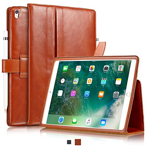 KAVAJ iPad Pro 10.5 Case Leather Cover London for Apple iPad Pro 10,5 Cognac-Brown Genuine Cowhide Leather with Pencil Holder Built-in Stand Auto Wake/Sleep Function Slim Fit Smart Folio iPad 10 5
