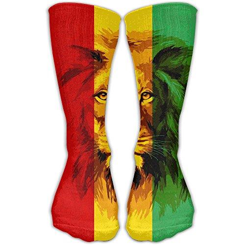 Black Orange Red Mens Sneakers - KAKARE Men Women Classics Crew Socks Reggae Rasta Flag Lion Personalized Athletic Socks 30cm Long-All Season