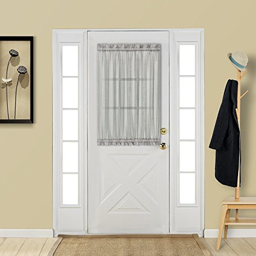 Aquazolax Glass Door Panel Window Curtain Elegant Solid W25 x L40 Rod Pocket Sheer Curtain for French Door with Bonus Tieback - 1 Panel, Grey]()