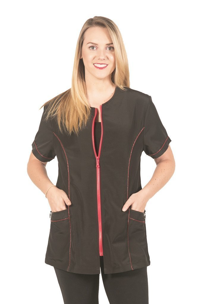 Ladybird Line Fashionable Red Zipper Grooming Jacket Ideal for Pet Groomers and Hair Stylist - Black, Large by Ladybird Line