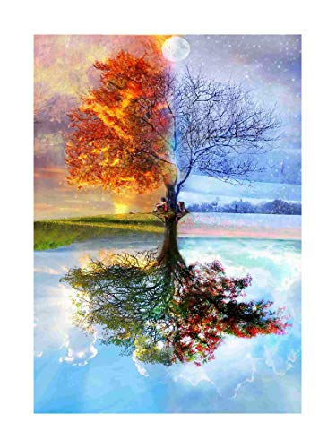 SuperDecor DIY 5D Diamond Painting Full Drills Crystal Rhinestone Diamond Embroidery Paintings Pictures Arts Craft for Adults or Kids 30x40cm (Four Season Tree)