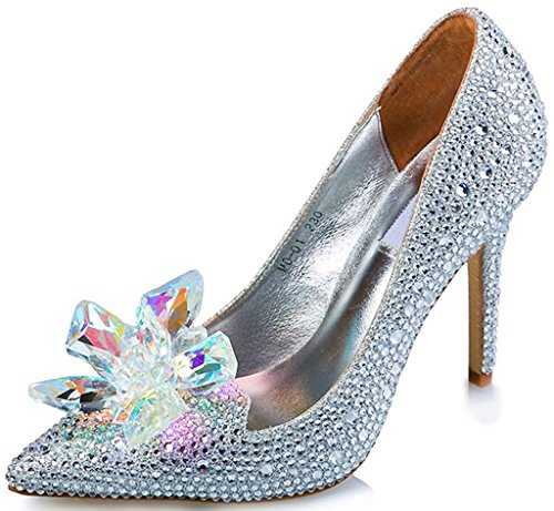 Littleboutique Cinderella Princess Crystal Shoes Glass Flower Wedding Shoes Evening Dress Heels white 7.5