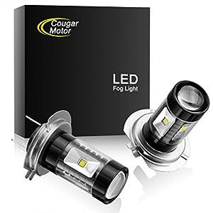 Cougar Motor H7 CREE LED Fog Light/DRL Bulbs - 30W 5000K Bright White (Pack of two bulbs)