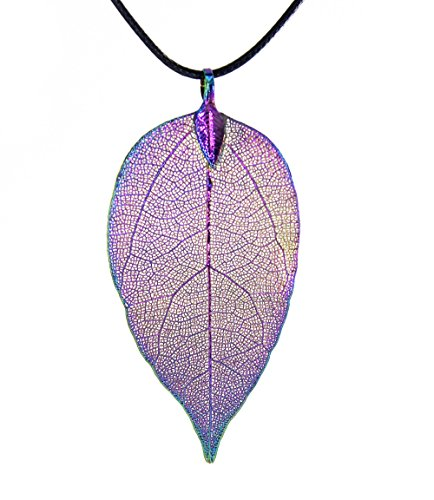 Ribbon Earrings - BOUTIQUELOVIN Women's Long Leaf Pendant Necklaces Real Filigree Autumn Leaf Fashion Jewelry Gifts (Iridescent Choker)