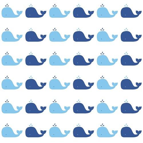Tempaper Kids Blue Whale | Designer Removable Peel and Stick Wallpaper