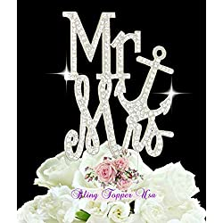 "Crystal Rhinestone ""Anchor"" Wedding Cake Topper Beach Nautical Wedding Monogram"