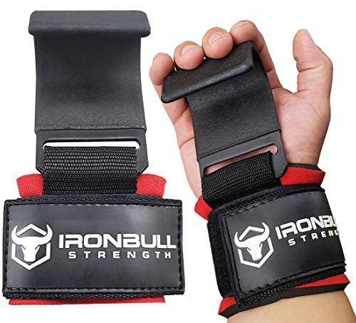 Iron Bull Strength Weight Lifting Steel Hooks (Pair) - Heavy Duty Lifting Wrist Straps - Deadlift Straps for Powerlifting- Thick Padded Workout Hook - Weightlifting Gloves for Heavy Lifting (Black)