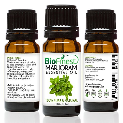 BioFinest Marjoram Oil - 100% Pure Marjoram Essential Oil - Premium Organic - Therapeutic Grade - Best For Aromatherapy - Antiseptic - Ease Stress/Anxiety - FREE E-Book ()