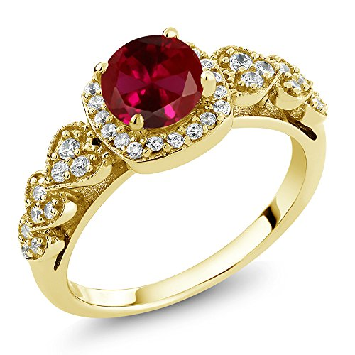 Gem Stone King 1.32 Ct Round Red Created Ruby 18K Yellow Gold Plated Silver Ring