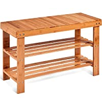 COSTWAY Bamboo Shoe Rack Bench 3-Tier Free Standing Wood Shoe Storage Organizer Shelf Holder Home Entryway Hallway Furniture Eco-Friendly