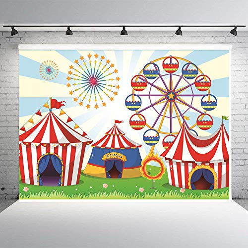 Art Studio 7x5ft Photo Background Circus Carnival Theme Party Decor Supplies Ferris Wheel Backdrops Kids Birthday Studio Props Booth Vinyl ()