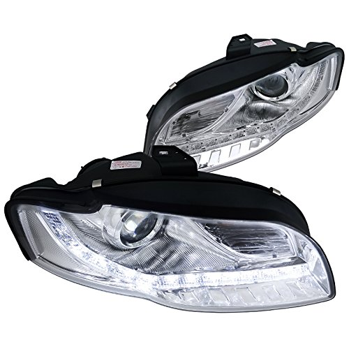 Spec-D Tuning 2LHP-A406-8-TM Audi A4 Crystal Chrome R8 LED DRL Strip Projector Headlights - A406