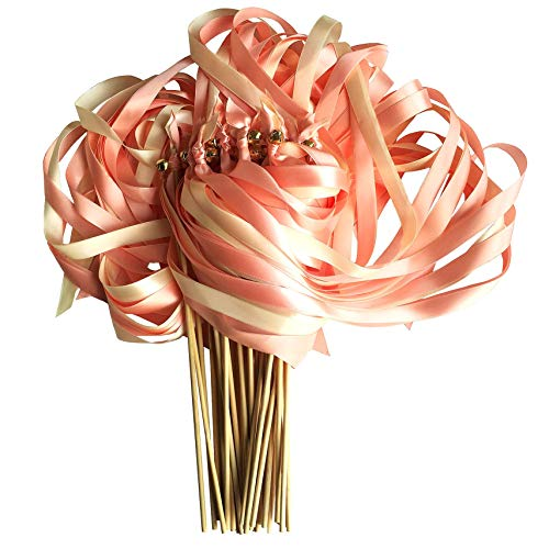 Kingsnow 50 Pack Wedding Ribbon Wands with Triple Ribbon and Bell Fairy Stick Wish Wands Streamers Ribbon Sticks Magic Wands for Party, Wedding, Bridal Shower