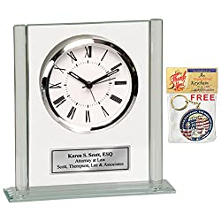 Personalized Glass Billboard Pillar Desk Clock with Silver Engraving Plate. Engraved Clock as employee recognition gift, appreciation awards, anniversary or corporate retirement gift