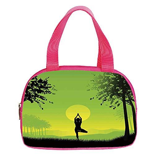 "Polychromatic Optional Small Handbag Pink,Yoga Decor,Meditating Lady Under Sunset Sky in The Forest Serenity Balance Soul Nature Artwork,Green Black Yellow,for Girls,Print Design.6.3""x9.4""x1.6"""