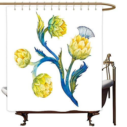 SKDSArts Teal Shower Curtains for Bathroom Cotton Artichoke,Floral Bouquet Artichokes Botanical Abstract Vivid Colored Artwork,Yellow and Violet Blue,W36 x L72,Shower Curtain for Women