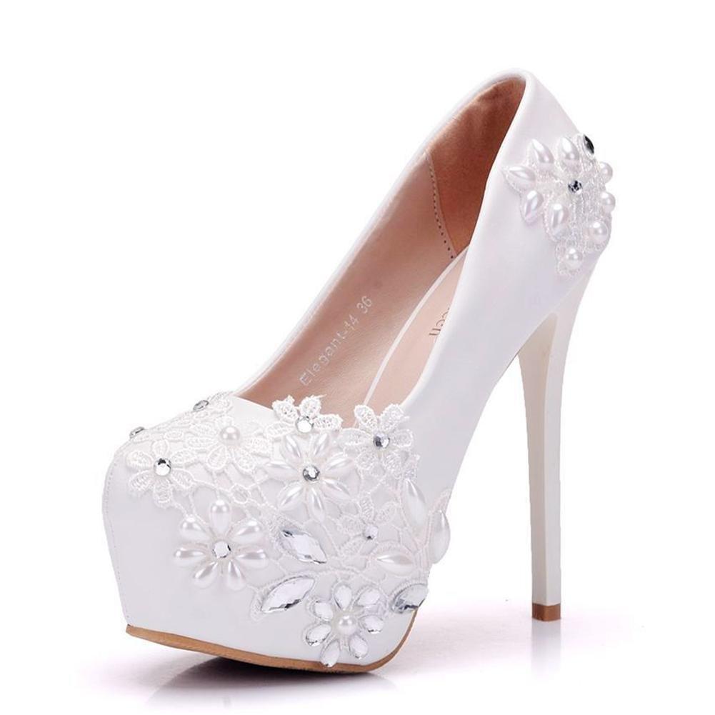 Mujer Señoras Boda Nupcial Corte Zapatos Blanco Cristal Rhinestones Alto Talones Cordón Plataforma Superficial Zapatillas Paseo Noche , Blanco , EUR 37/ UK 4.5-5 EUR 37/ UK 4.5-5|Blanco