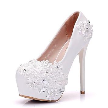 Gericht Schuhe Braut Damen Hochzeit Weiß Kristall kn8w0OP