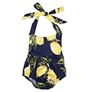 Cute Baby Infant Girls One Piece Clothes Romper Halter Backless Pear Printed Floral Bodysuit Ruffle Jumpsuit Outfits (0-6 Months)