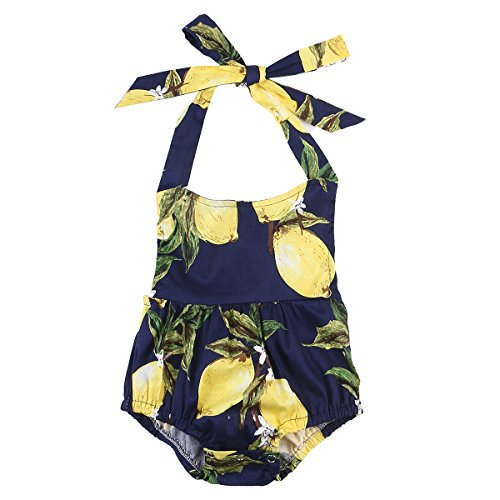 Cute Baby Infant Girls One Piece Clothes Romper Halter Backless Pear Printed Floral Bodysuit Ruffle Jumpsuit Outfits (6-12 Months)