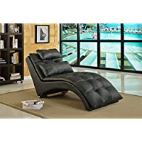 Best Quality Furniture black Faux Leather Chaise
