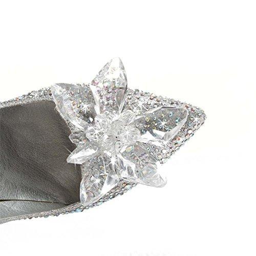 Argent Tribunal De EUR41UK758 Pompes Robe Soir Mariage Chaussures Bal Stylet SILVER NVXIE Mariée Femmes Strass Talons de Promo Cristal Haute Chaussures qRTTwX71E
