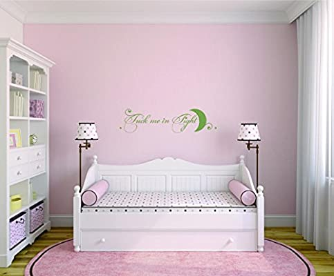 Tuck Me In Tight Bedroom Quote Kids Teen Boy Girl Family Color Design with Vinyl Moti 2517 3 Decal Black Size 16 Inches x 40 Inches Peel /& Stick Wall Sticker